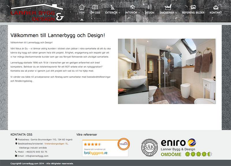 Lannerbygg Hemsida webbproduktion - LUCYMEDIA