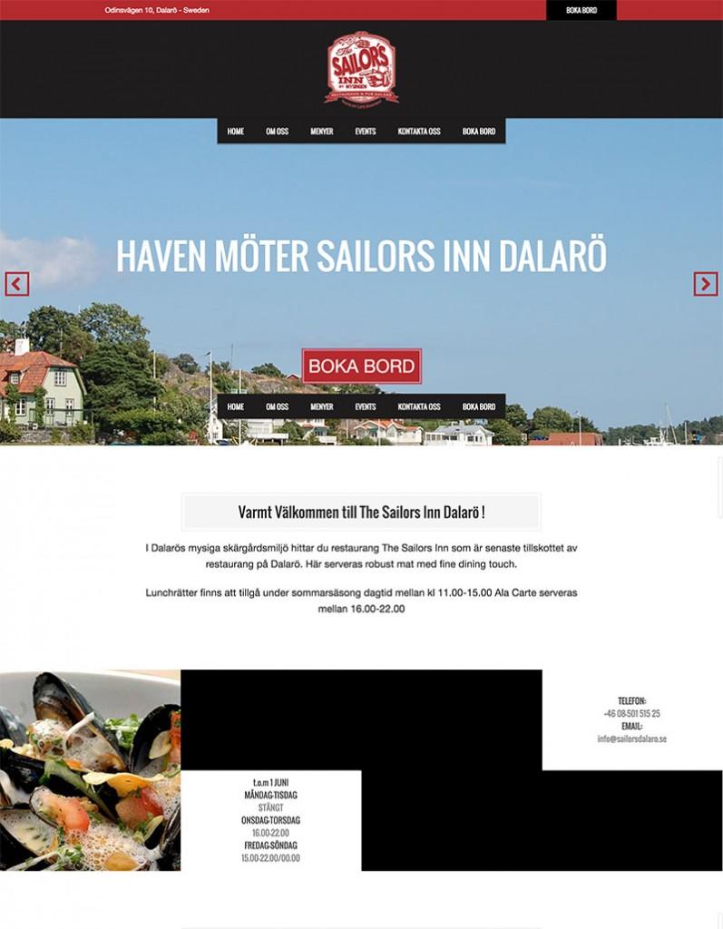 Sailor Inn Dalarö hemsida webbproduktion - LUCYMEDIA