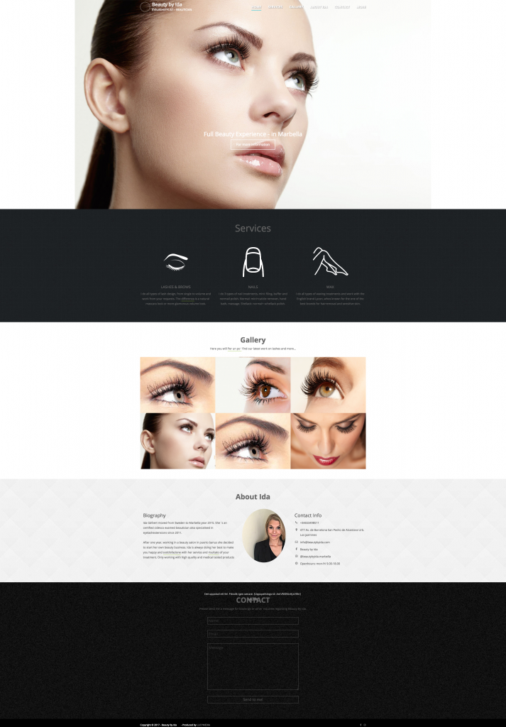 Beauty by Ida – EYELASHSTYLIST – BEAUTICIAN - Wordpress hemsida - LUCYMEDIA